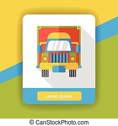 logistic cargo truck flat icon
