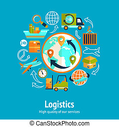 Logistic chain concept with globe and shipping freight...