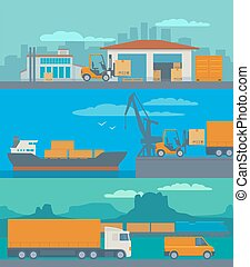 Logistic concept flat banner production process from factory to the shop. Warehouse, ship, truck, car. Wide panoramic vector illustration for business, info graphic, web, presentations, advertising.