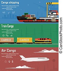 Logistic concept flat banners set of maritime rail and air transport delivery services