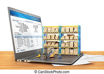 Logistic concept. Forklift with cardboard boxes on a notebook keyboard. 3d illustration