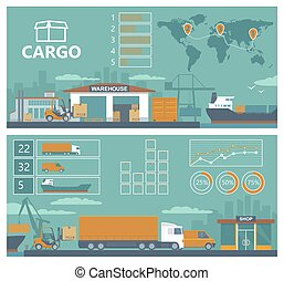Logistic concept infographics production process from factory to the shop