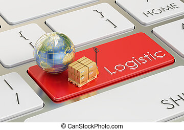 Logistic concept on red keyboard button, 3D rendering
