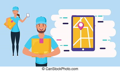 logistic couple workers with smartphone ,4k video animated