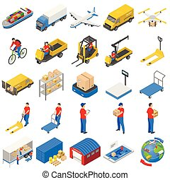 Logistic delivery icons set, isometric style