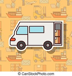 logistic delivery truck with cardboard boxes