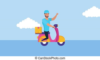 logistic delivery worker in motorcycle with box