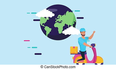 logistic delivery worker in motorcycle with earth planet