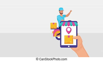 logistic delivery worker in motorcycle with smartphone