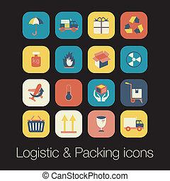 logistic, e, embalagem, ícone