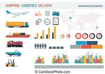 Logistic elements for infographic. Different cities and...