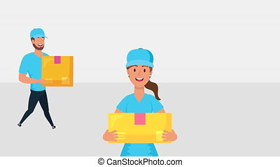 logistic female worker with box and truck ,4k video animated