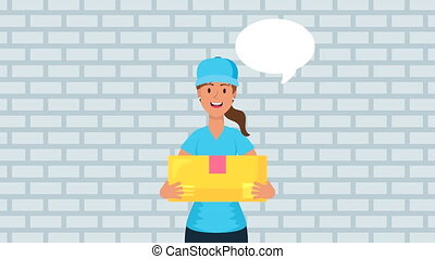 logistic female worker with box carton ,4k video animated