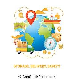 Logistic global concept design illustration