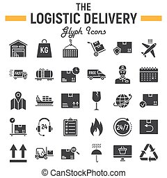 Logistic glyph icon set, Delivery symbols collection, vector sketches, logo illustrations, shipping signs solid pictograms package isolated on white background, eps 10.