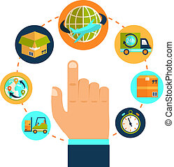 Logistic pointing hand and delivery network chain concept vector illustration