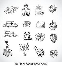 Logistic Hand Drawn Icons Set