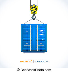 Logistic shipping realistic container hanging on crane hook icon isolated on white background vector illustration