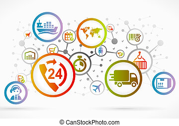 Logistic icon set vector abstract background