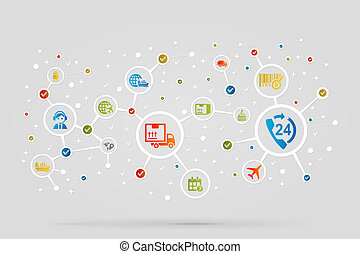 Logistic icons abstract vector background