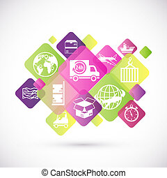 Logistic icons design - Logistic rhombus icons design set of...