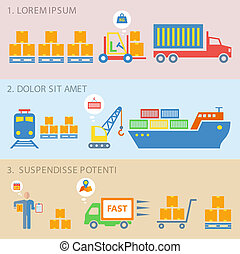 Logistic icons flat - Logistic delivery shipping flat icons...