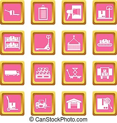 Logistic icons pink