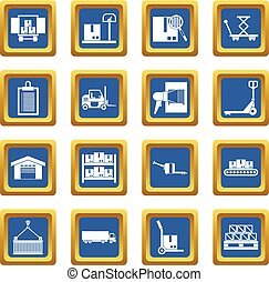 Logistic icons set blue