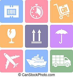 Logistic icons set, flat design