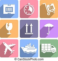 Logistic icons set, flat design vector