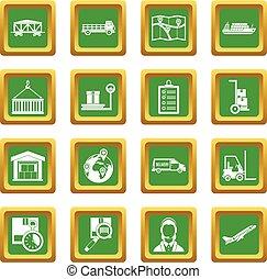 Logistic icons set green