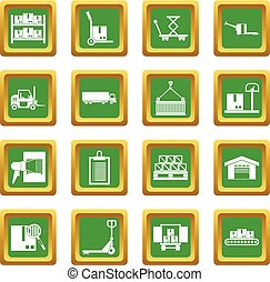 Logistic icons set green