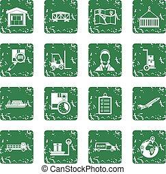 Logistic icons set grunge