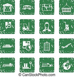 Logistic icons set grunge