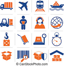 Logistic icons set - Logistic service and shipping icons set...
