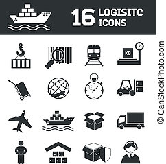 Logistic icons set - Logistic shipping cargo global export...