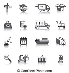 Logistic Icons Set - Logistic shipping freight service icons...