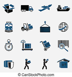 Logistic Icons Set - Logistic transportation service icons...