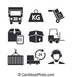 Logistic icons set on white background.
