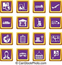 Logistic icons set purple