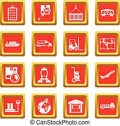 Logistic icons set red