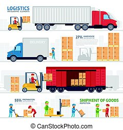 Logistic infographic elements set with transport, delivery, shipping, forklift truck in warehouse, storage loading cardboard boxes.