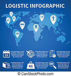 Logistic infographic icons - Logistic freight service...