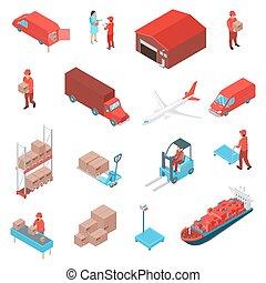 Logistic Isometric Icons Set