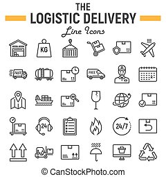 Logistic line icon set, Delivery symbols collection, vector sketches, logo illustrations, shipping signs linear pictograms package isolated on white background, eps 10.