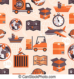 Logistic shipping freight service seamless pattern with globe and arrows on background vector illustration.