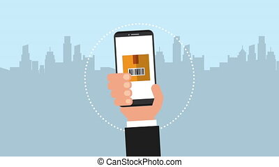 logistic service app in smartphone ,4k video animation