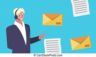 logistic service with agent support and envelopes animation...