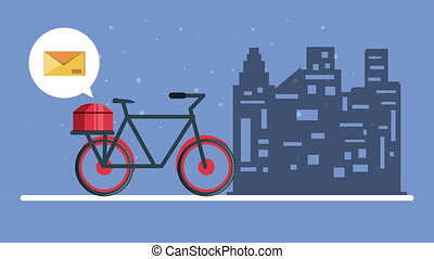 logistic service with bicycle and envelope mail ,4k video ...