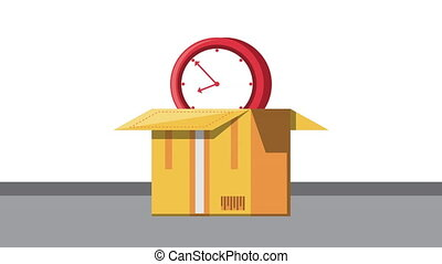 logistic service with box carton and time clock ,4k video ...